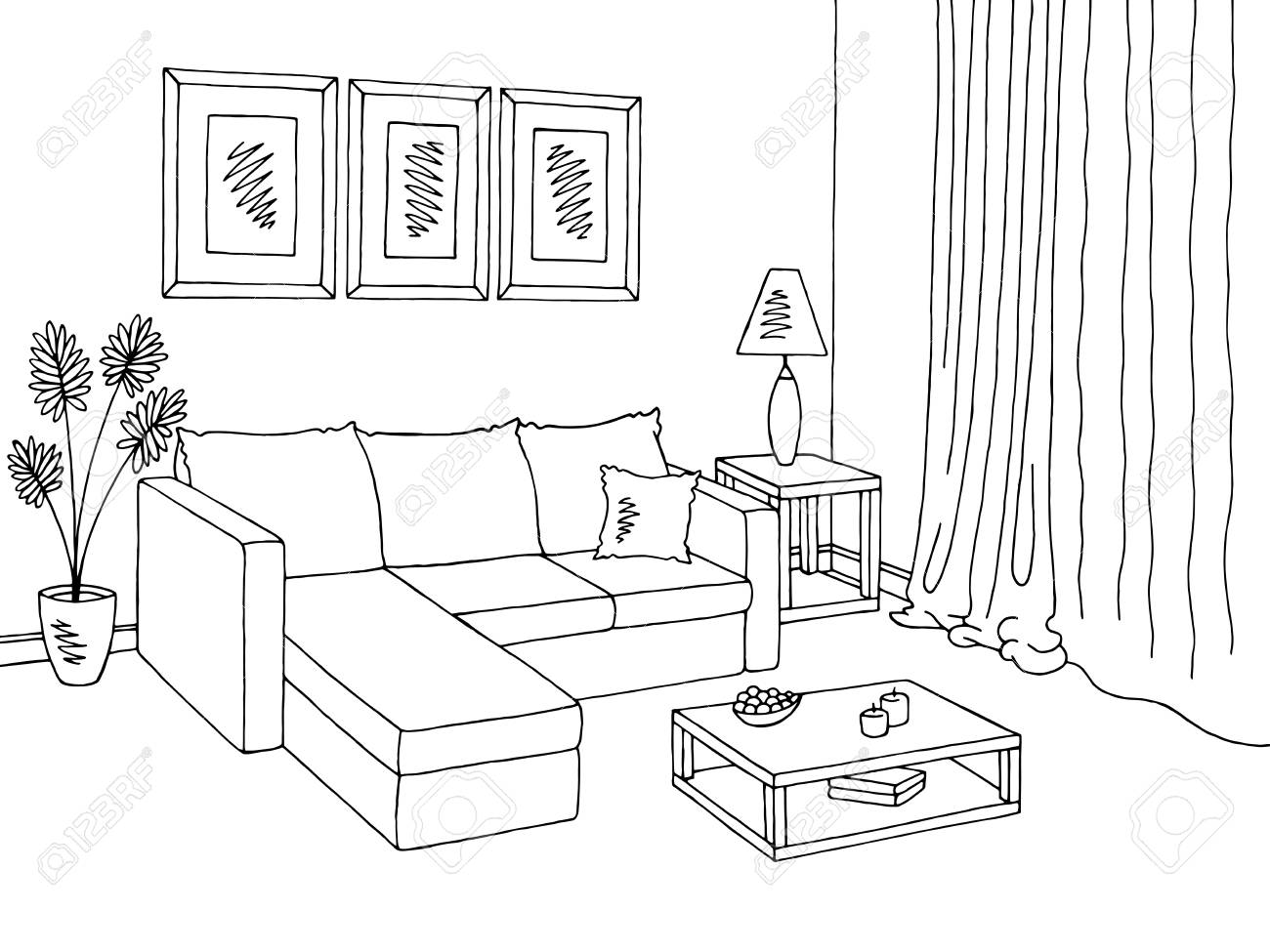Living room clipart black and white » Clipart Station.
