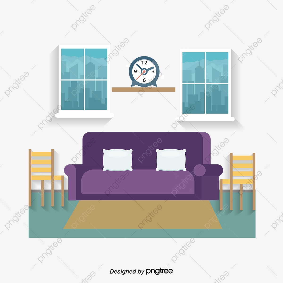 Vector Living Room, Living Room, Sofa, Window PNG and Vector.