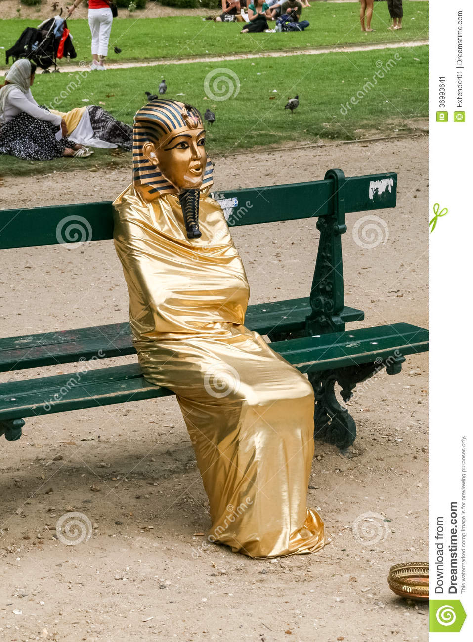 Egyptian Mummy Living Statue Editorial Photo.