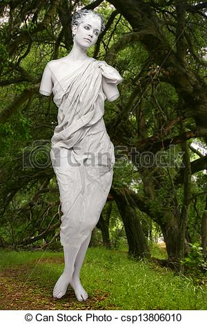 Stock Photography of Marble Live Statue of a Woman Outdoors.