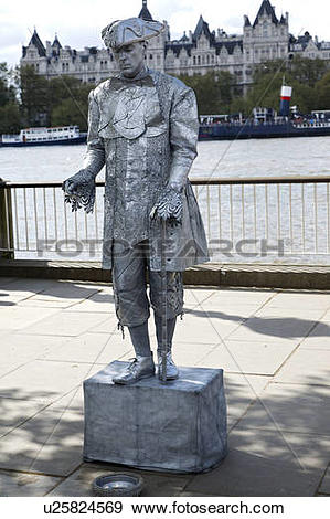 Stock Photograph of England, London, South Bank. Street performer.