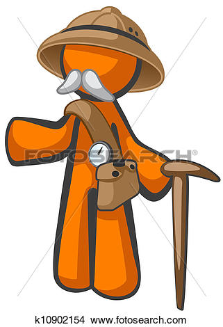 Drawings of Orange Man Dr Livingstone, Explorer and Adventurer.