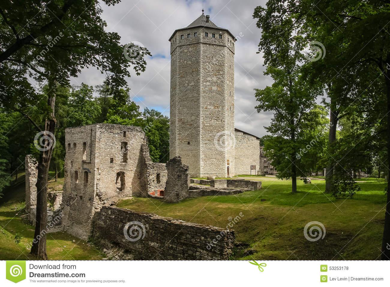 Ruins Of Paide Medieval Castle, Estonia Stock Photo.