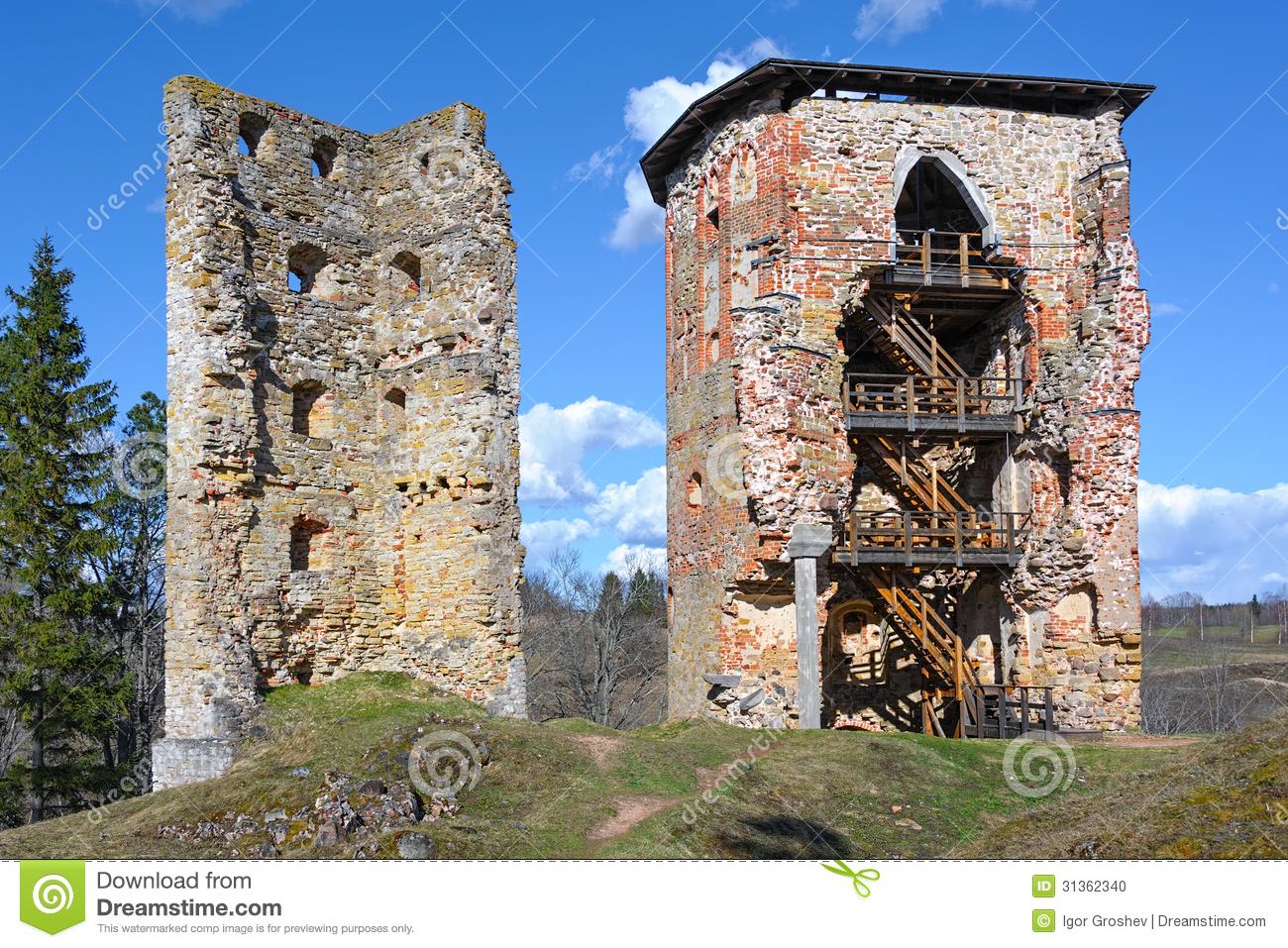 Ruins Of The Castle Vastseliina Stock Photo.