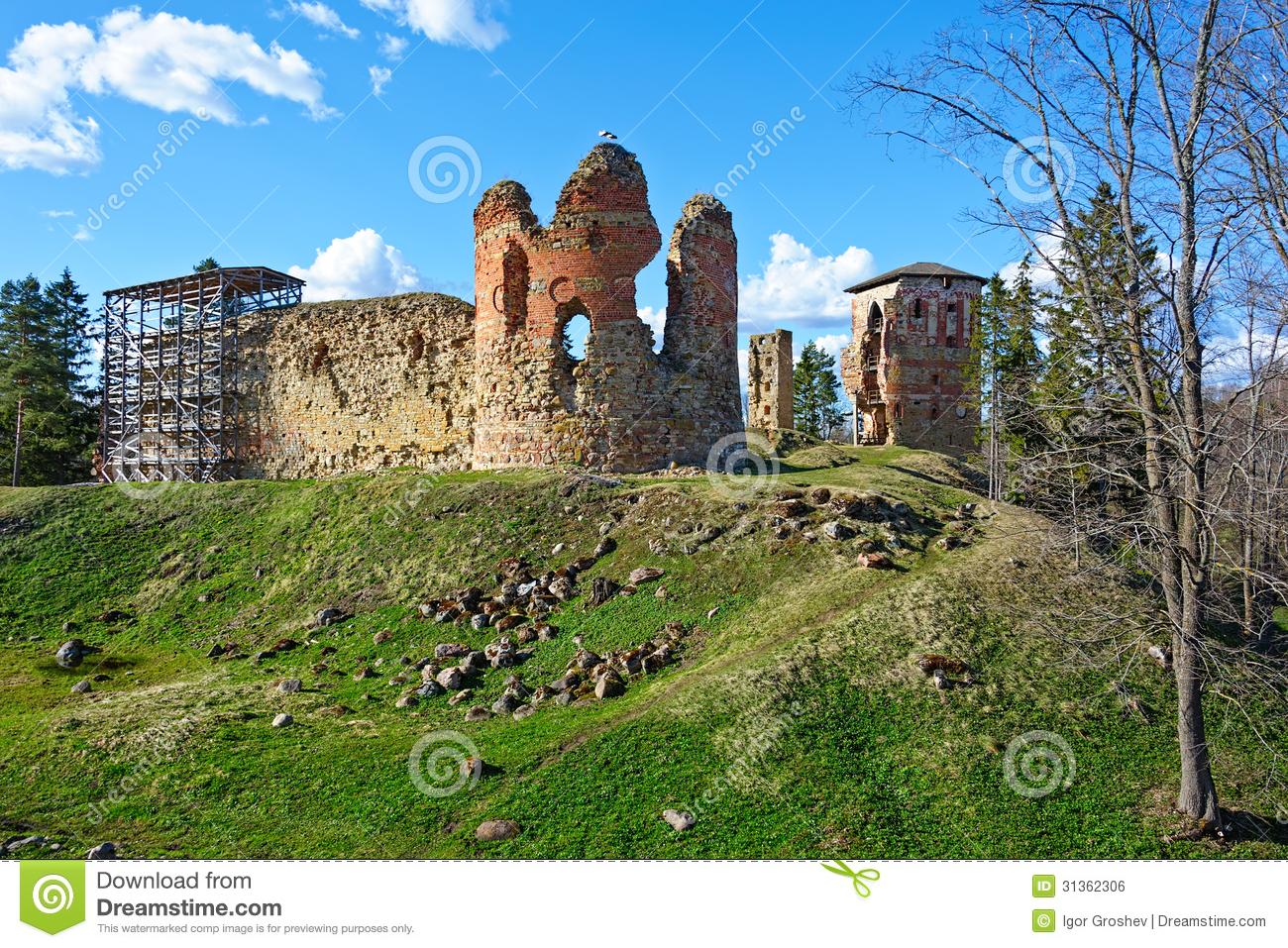 Ruins Of The Castle Vastseliina Royalty Free Stock Image.