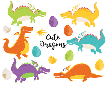Dragons clipart, vector dragons clipart, fire clipart, lizard clipart,  monsters.