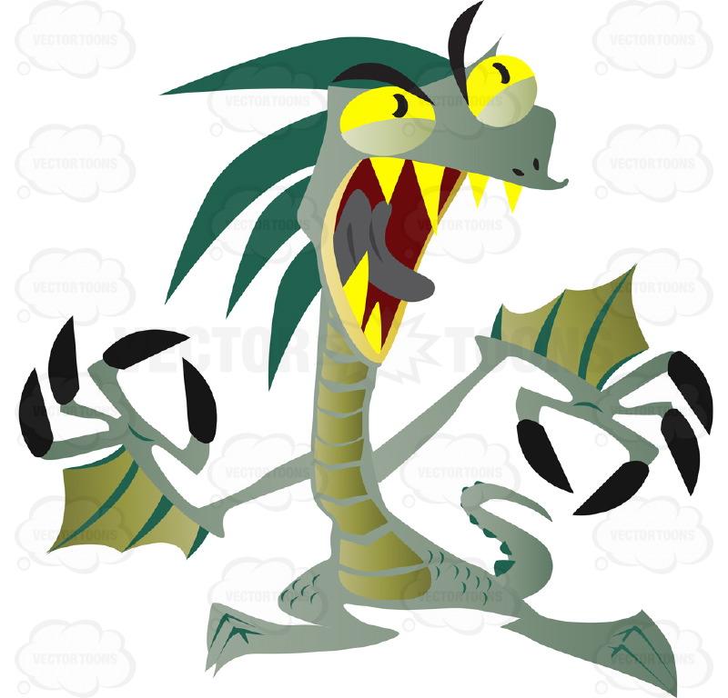 Green Dragon Lizard With Yellow Eyes And Teeth Cartoon Clipart.