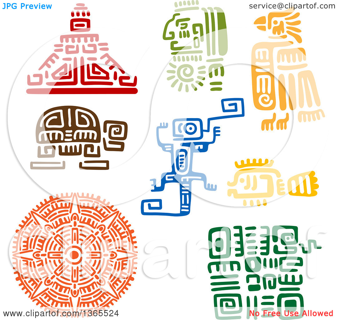 Clipart of Mayan Aztec Hieroglyph Art Designs of a Pyramid.