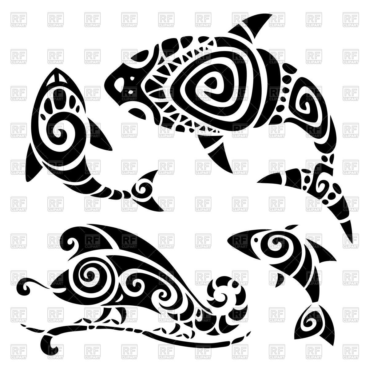 Polynesian tattoo: fishes and lizard Vector Image #51418.