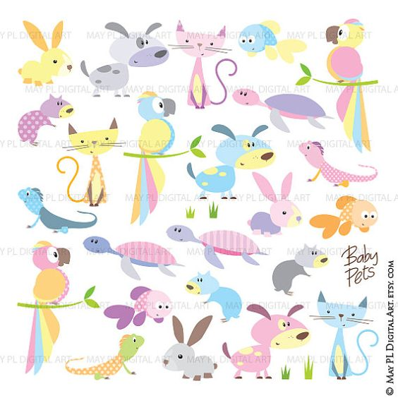 Baby Animals Clip Art Cute Pets Pastel Color Dog Cat Hamster.