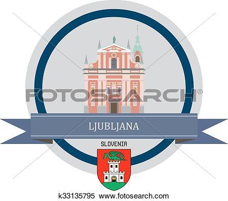 Clipart of Ljubljana ribbon banner k33135795.