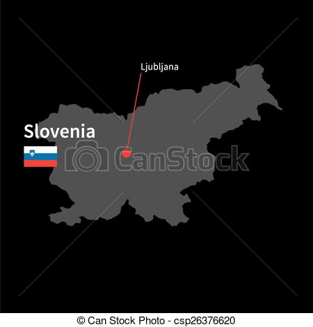 Vector Illustration of Detailed map of Slovenia and capital city.