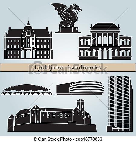 Clip Art Vector of Ljubljana skyline in orange background in.