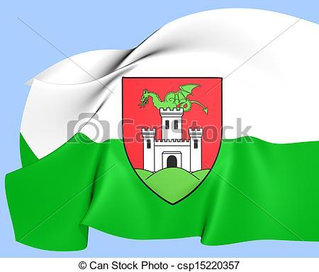 Stock Illustrations of Flag of Ljubljana, Slovenia. Close Up.