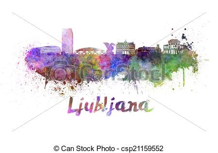 Stock Illustrations of Ljubljana skyline in watercolor splatters.