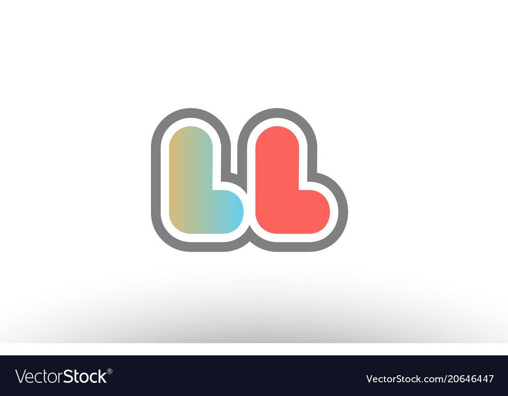 Orange pastel blue alphabet letter ll l l logo.