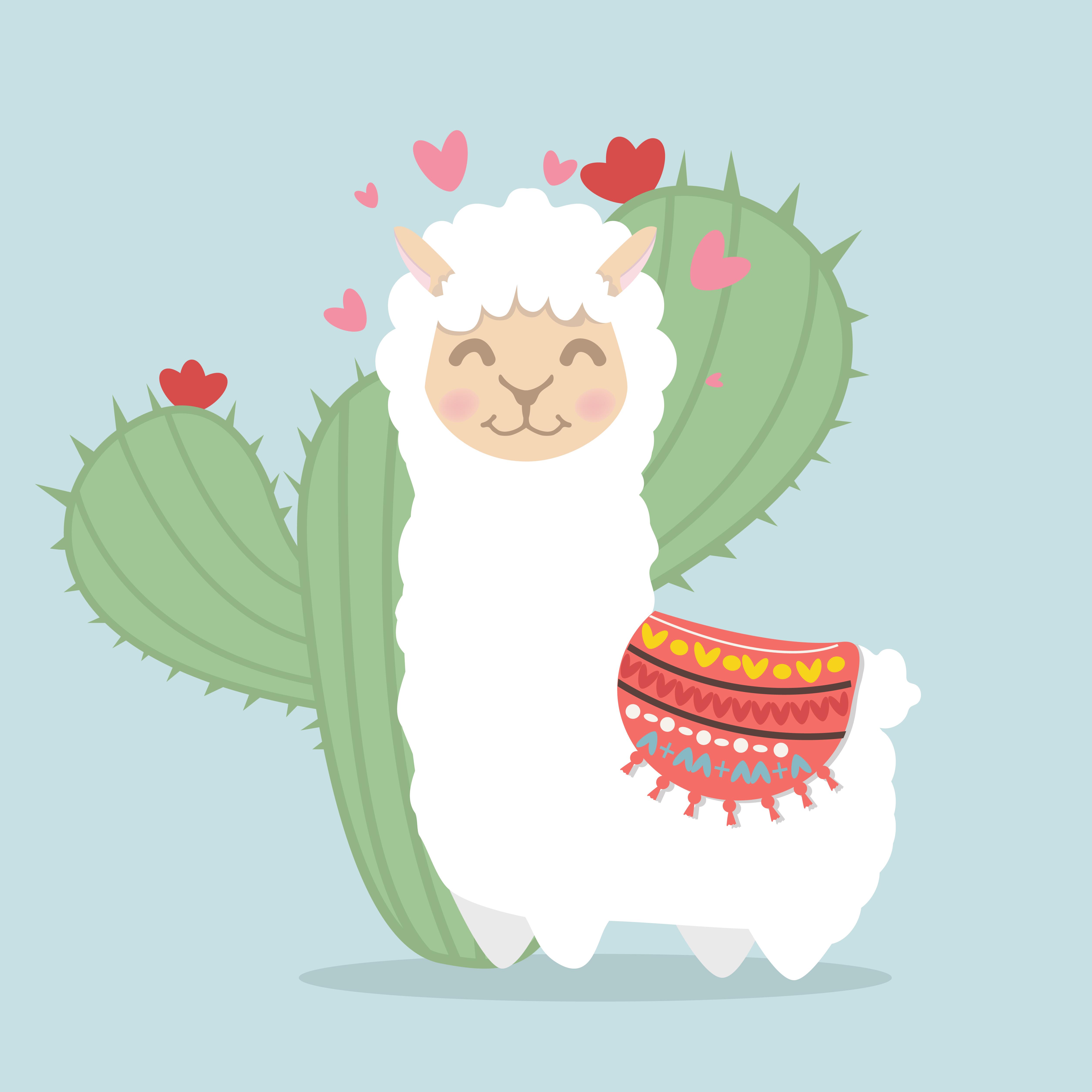 llama alpaca fluffy with cactus plant.
