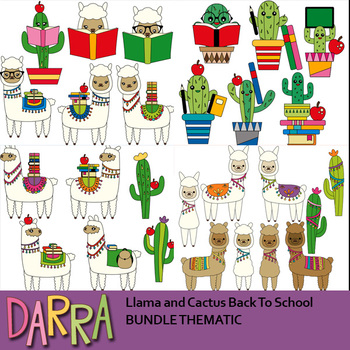 Llama and Cactus Back To School Clipart Bundle.