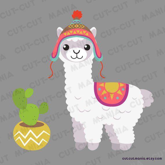 Cute alpaca clipart, cute lhama clipart, cactus clip art.