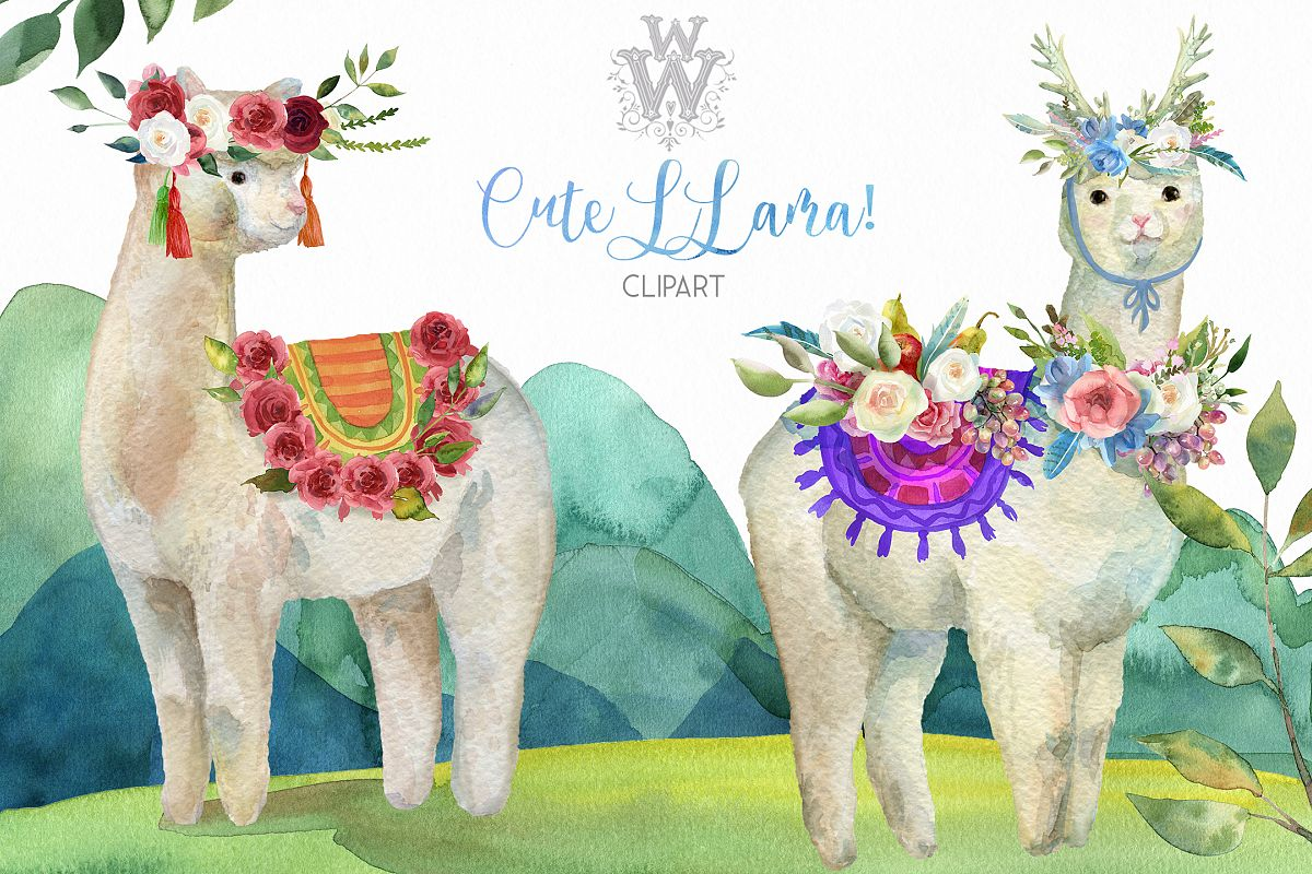 Cute watercolor llama alpaca clipart, animal floral tribal.