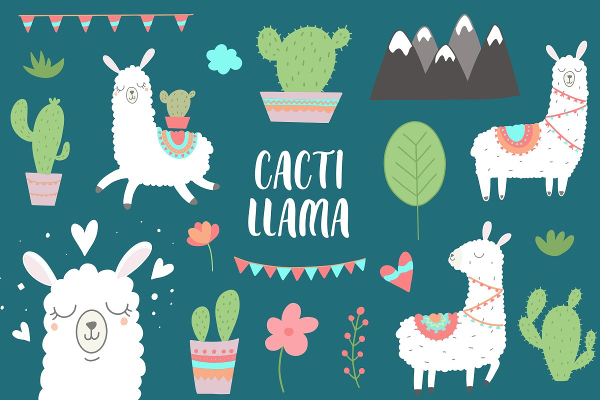 Llama Cute Clipart and Card designs.