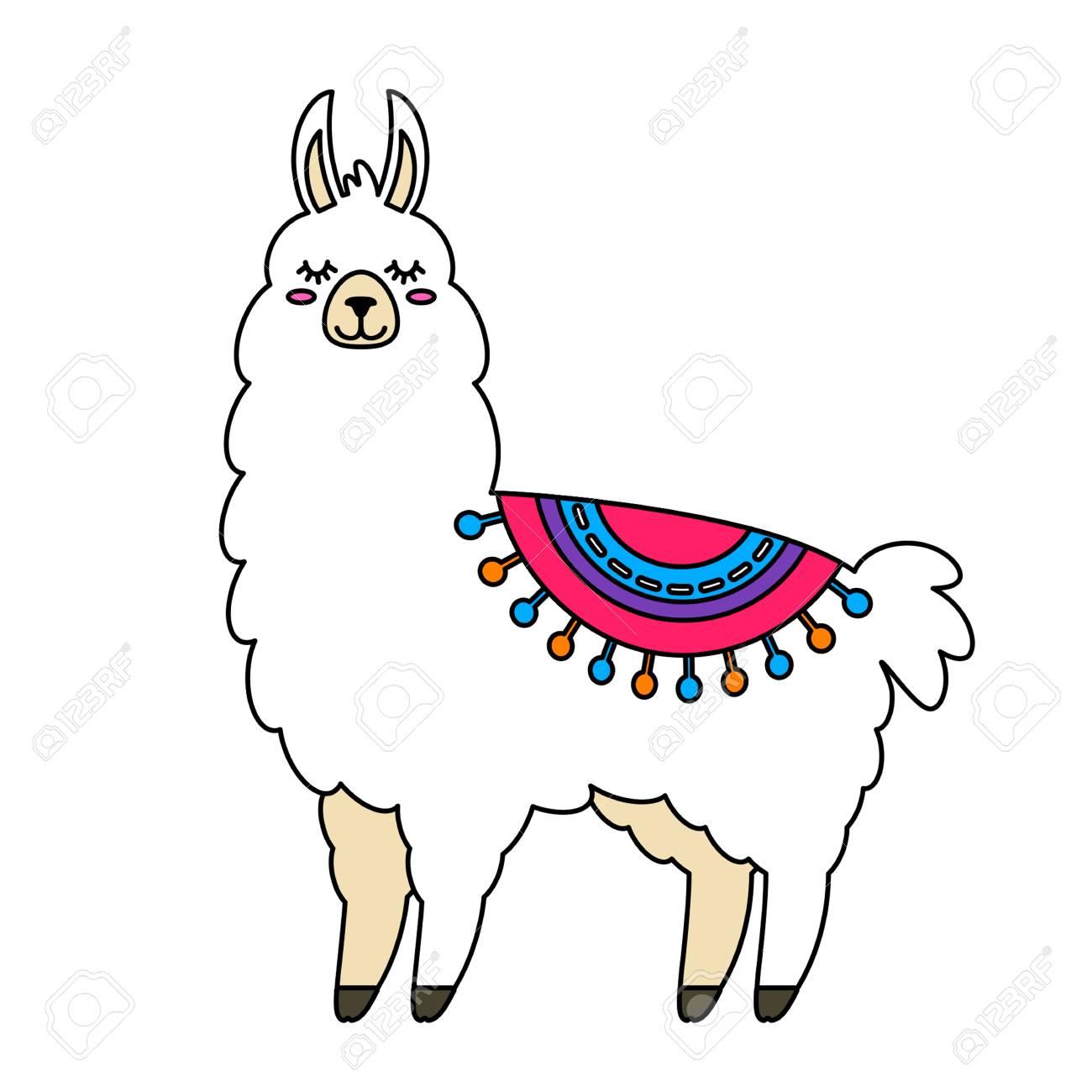 Funny llama alpaca in a cartoon style isolated flat vector illustration.