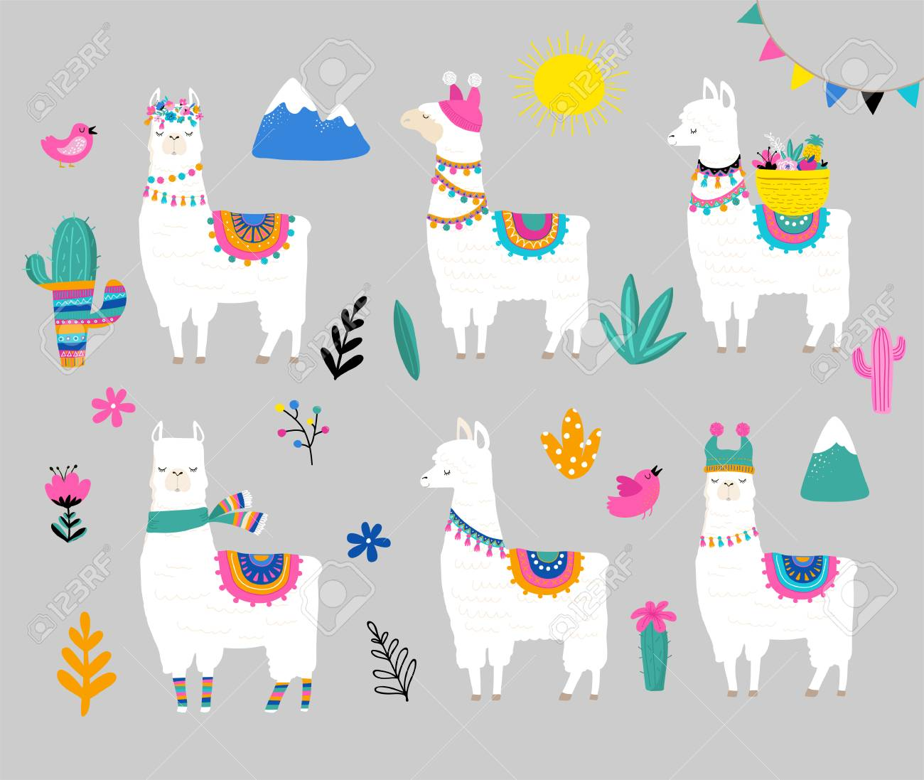 Llama collection, cute hand drawn illustration and design for...