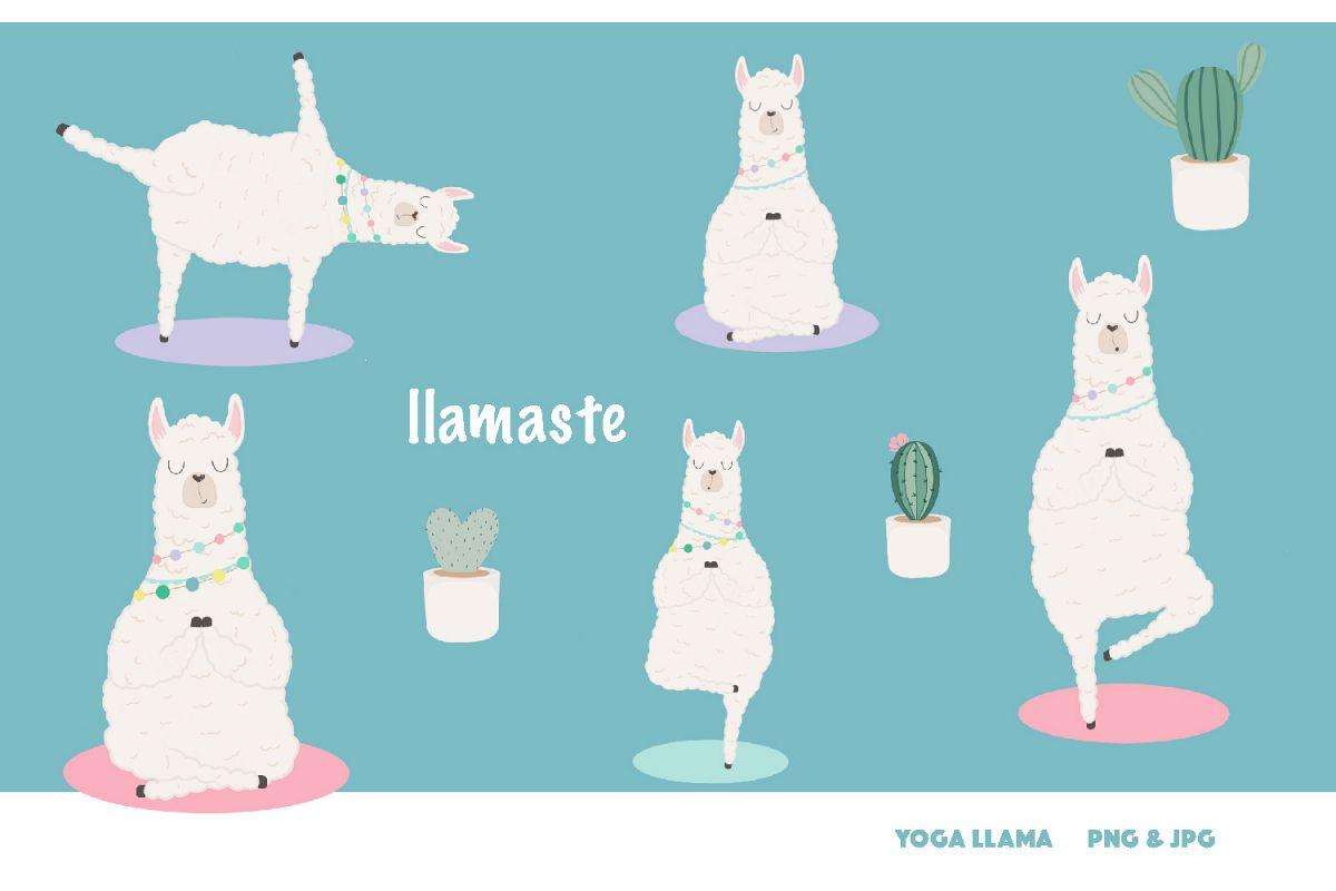 Llamaste! Yoga llama clipart set.