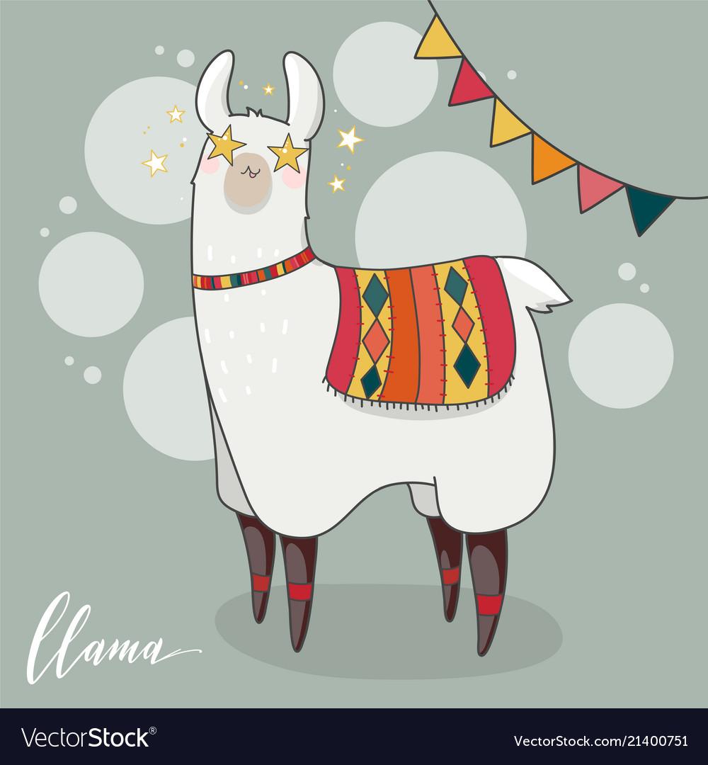 Lama in cartoon style.