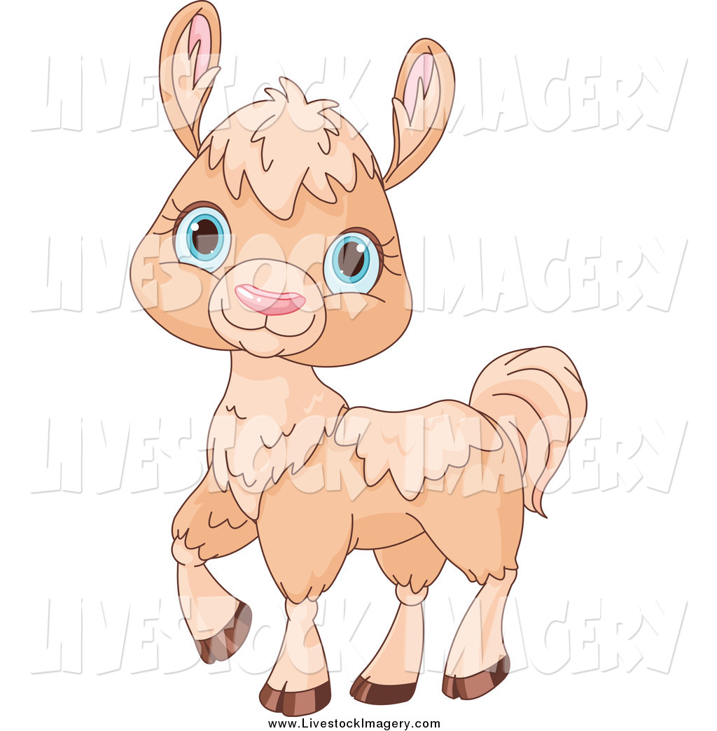 Clip Art of a Cute Walking Beige Llama with Blue Eyes by.
