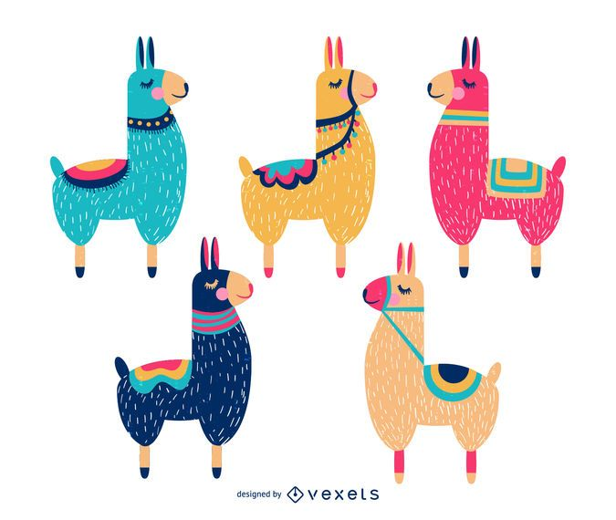 Collection of colorful llama animals with closed eyes with.