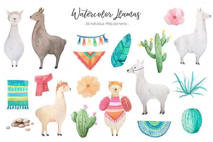 free watercolor llama clipart bundle.