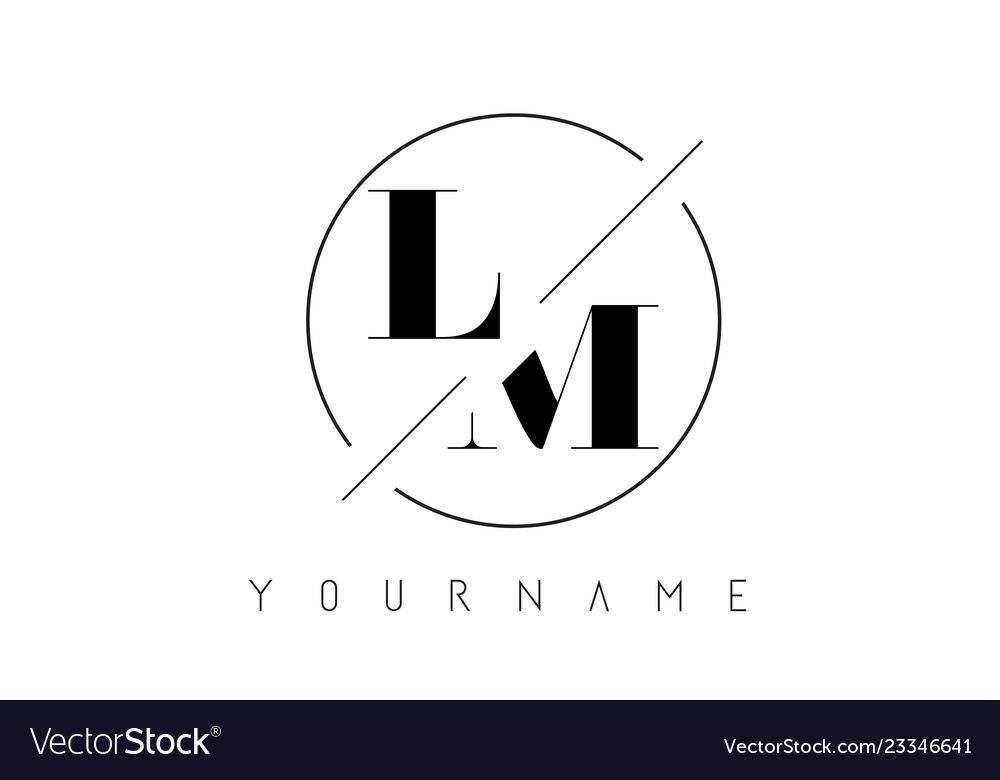 Lm letter logo with cutted and intersected design.