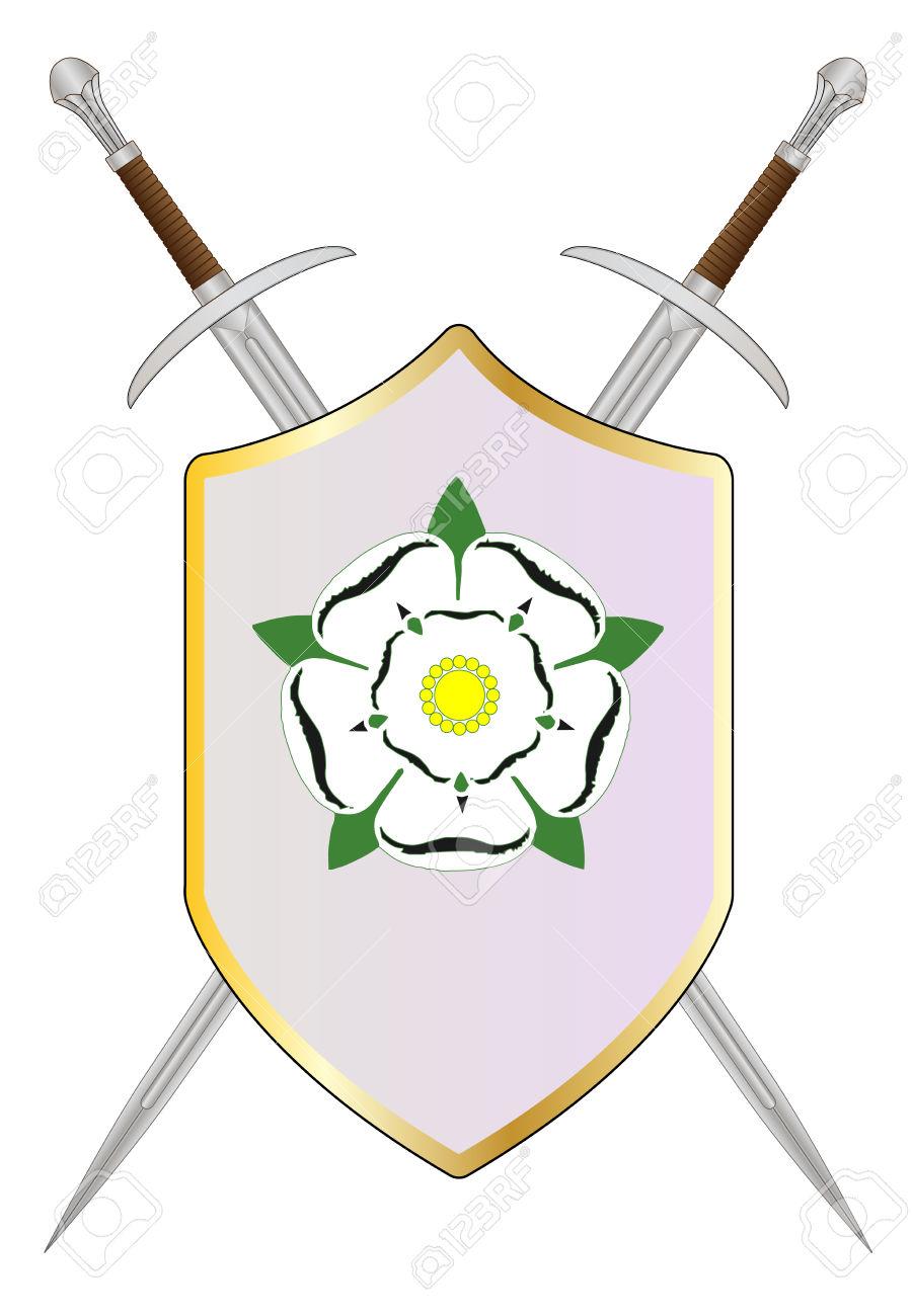 Lo Scudo E L'emblema Del Lato York Nella Guerra Dei Roses Clipart.