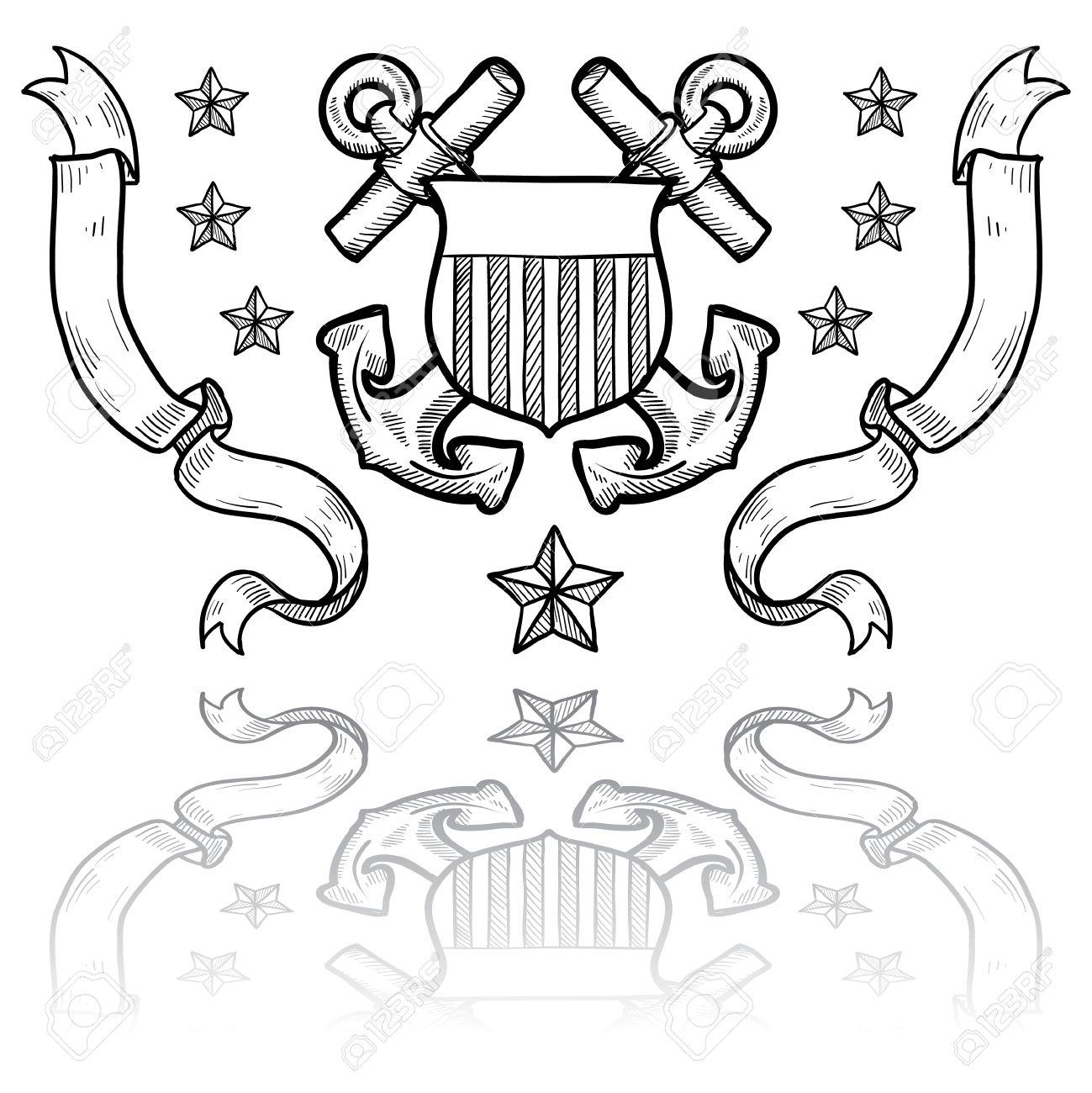 Doodle Rango Insegne Stile Militare Per La US Coast Guard Anche.