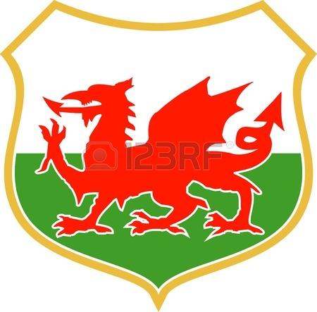 Illustrazione Di Un Rosso Gallese Galles Drago Con Lo Scudo In.