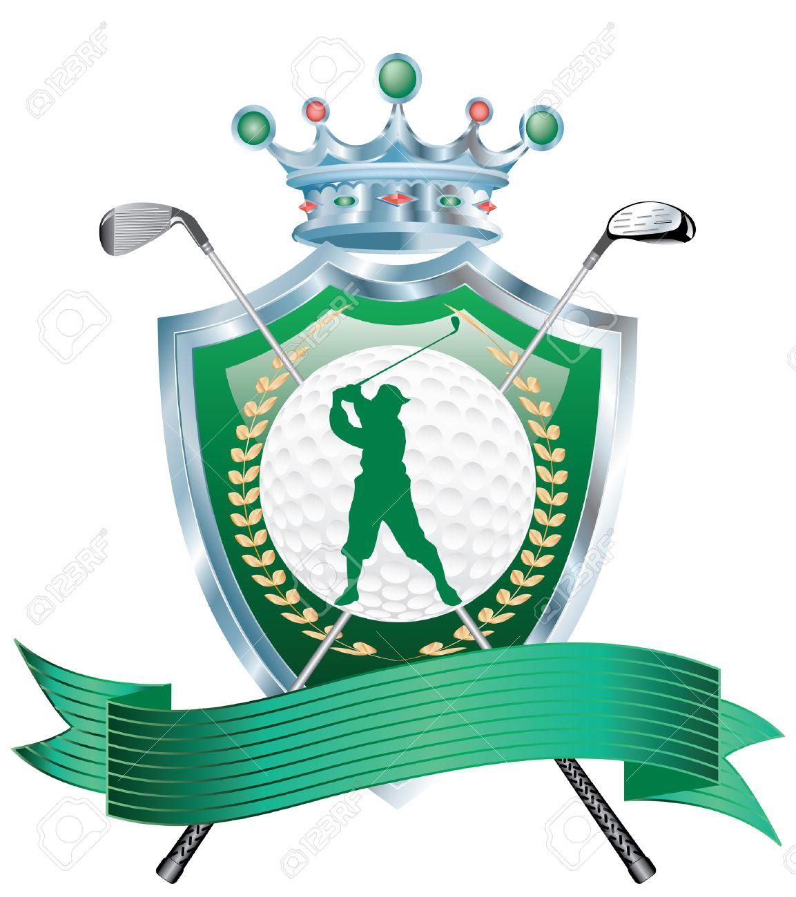 Premio Golf Vuoto Con Lo Scudo E Ferri Da Stiro Clipart Royalty.