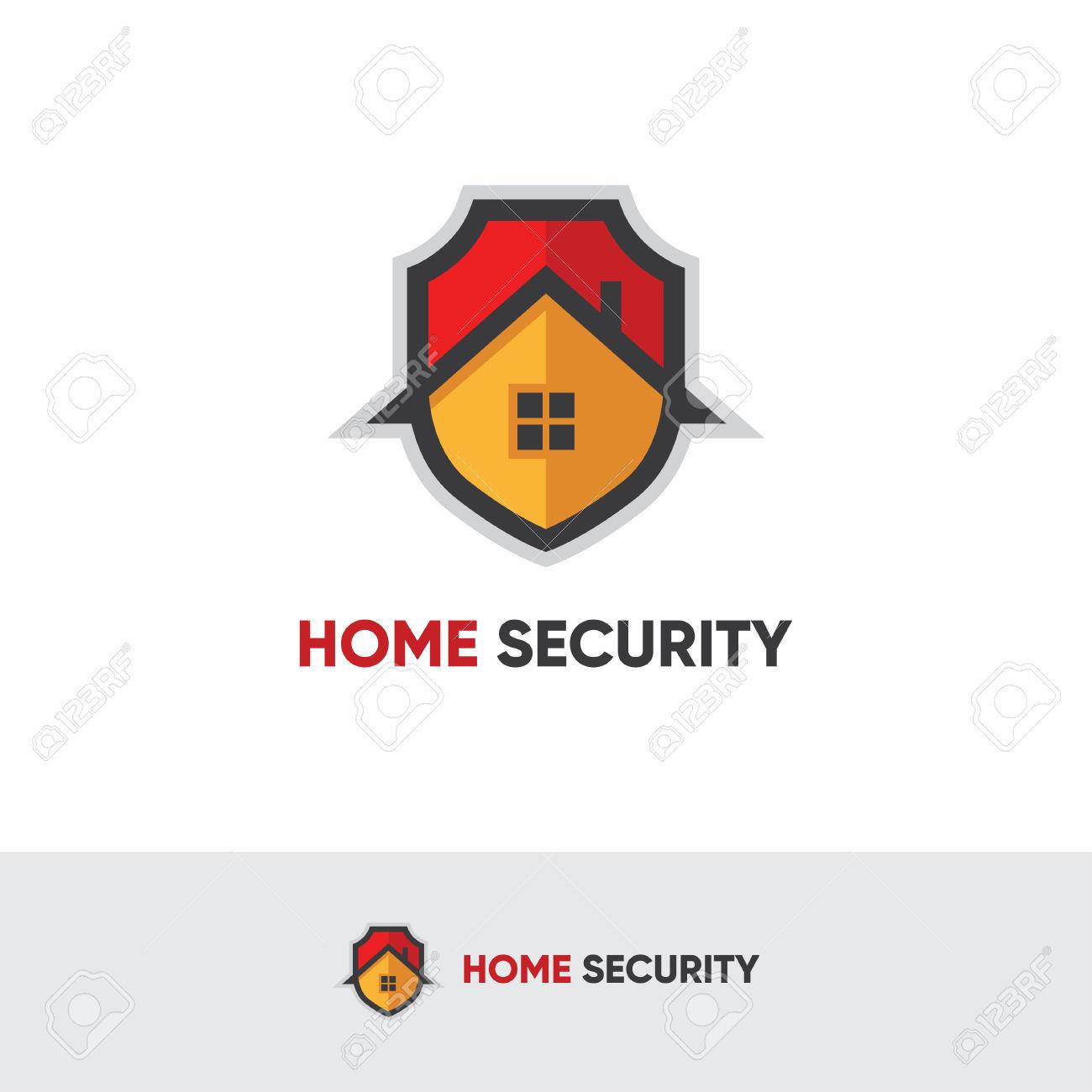 Logo Sicurezza Domestica Con Lo Scudo E La Casa Clipart Royalty.