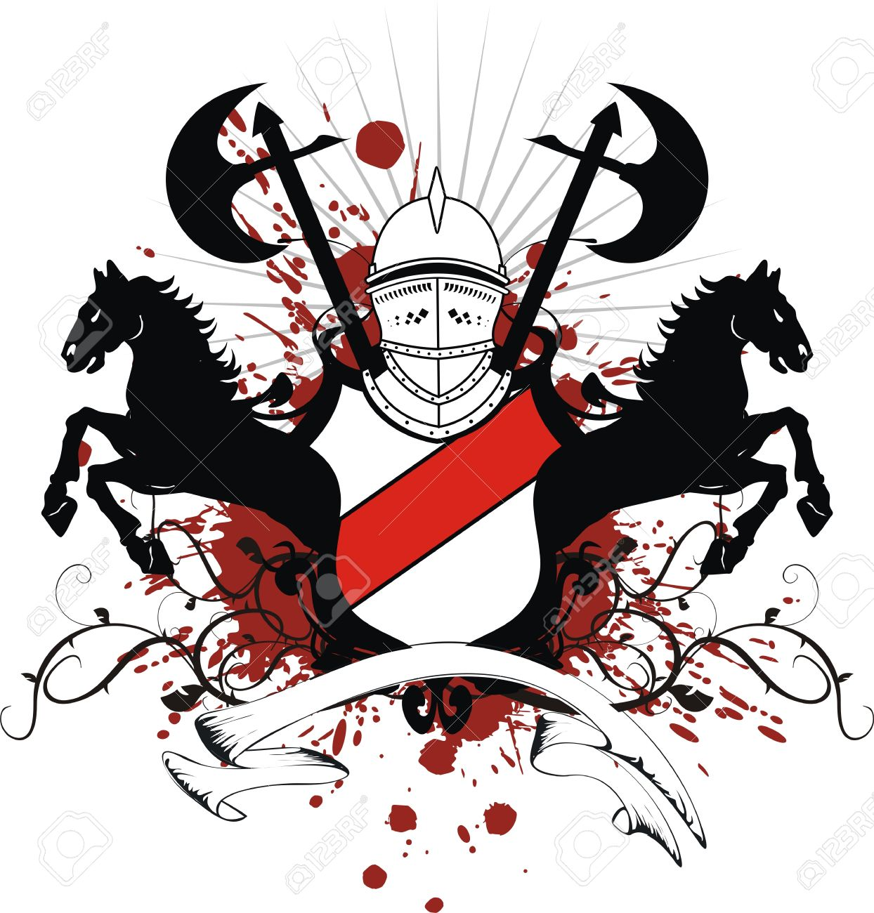 Mano Lo Scudo Araldico Del Cavallo Cresta Armi In Formato.