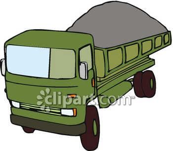 Royalty Free Clip Art Image: A Dump Truck With A Full Load Of Dirt.
