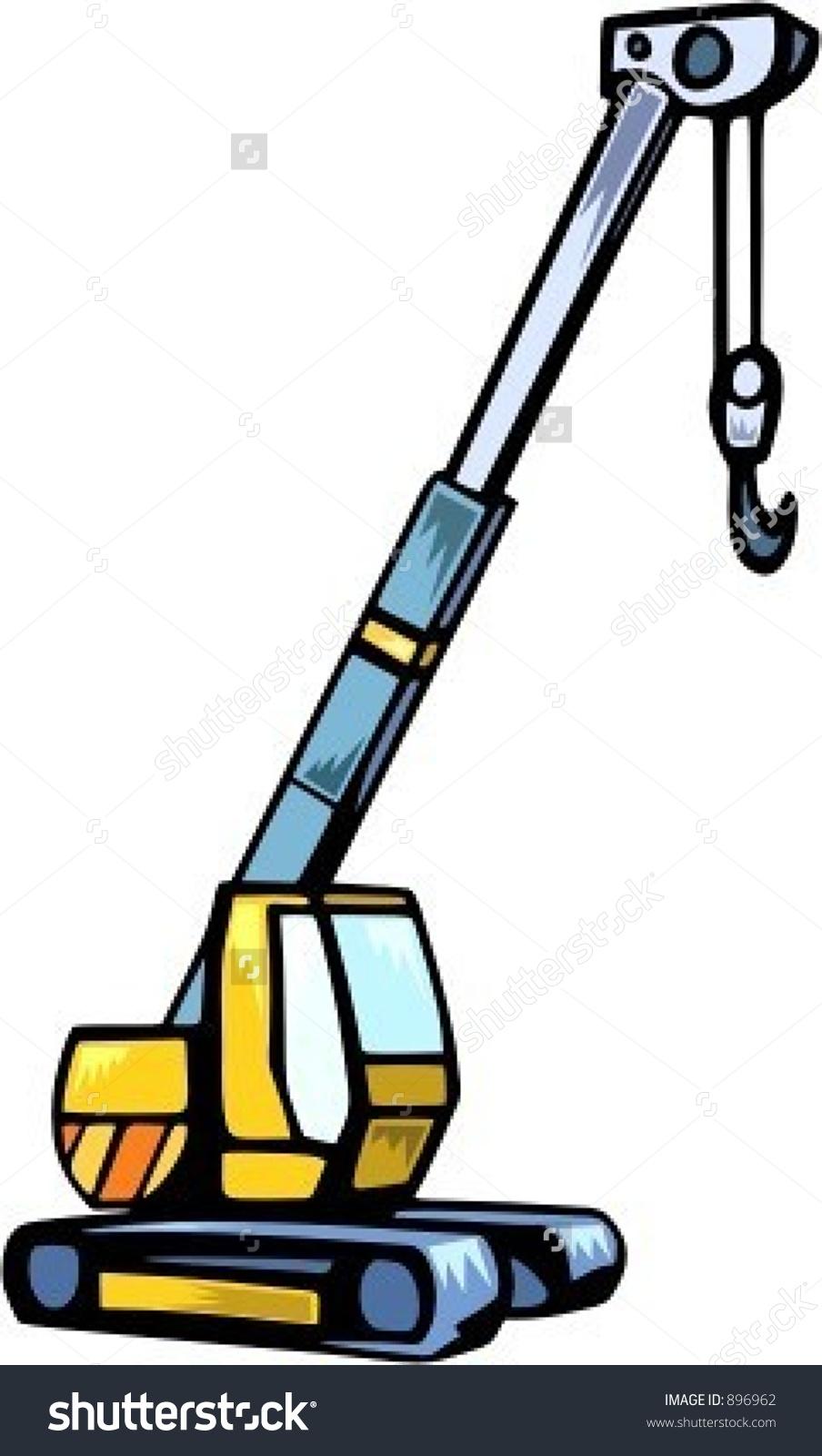 Truck with Crane Clip Art.