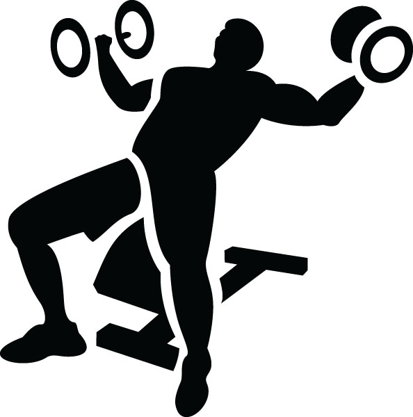 Man Lifting Weights Fitness Clip Art For Custom Gifts.