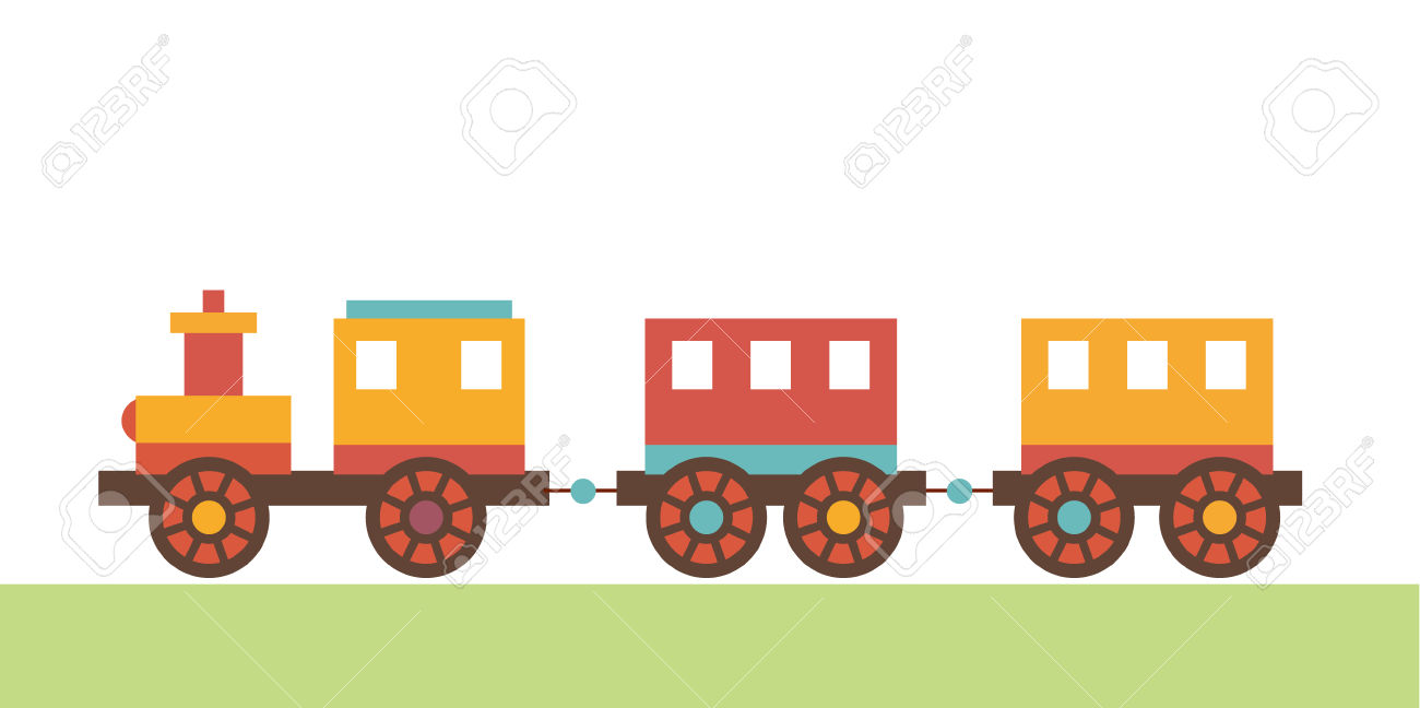 Clip Art Locomotive Of Children's Toys. The Train With A Trailer.