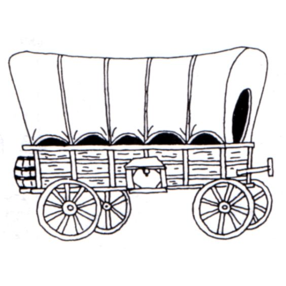 Covered Wagon Rubber Stamp.