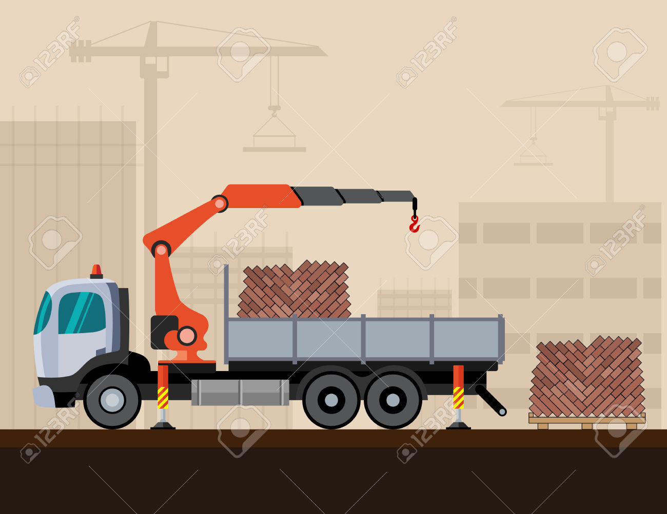 Crane Truck Loading A Pack Of Bricks On Construction Background.