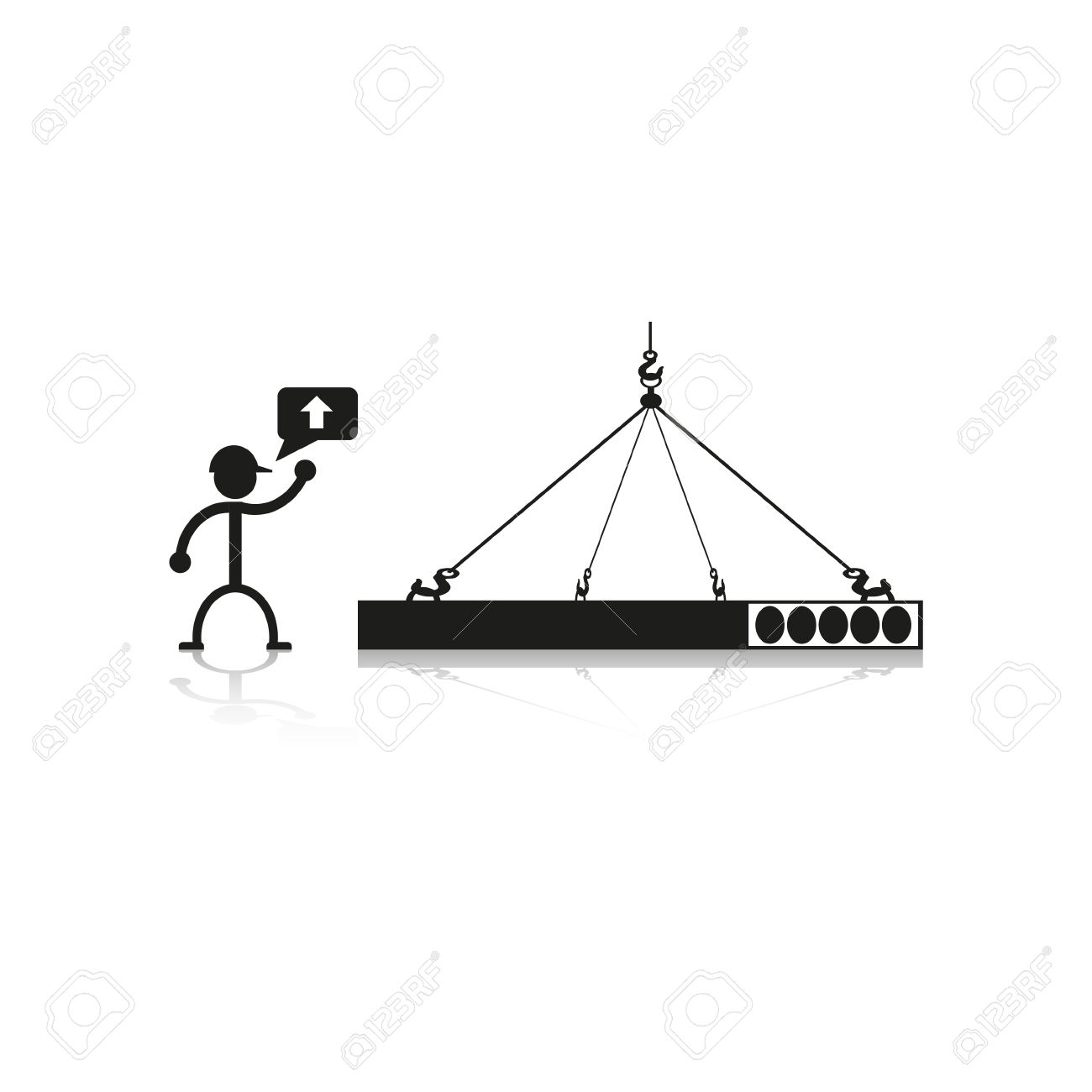Loading Crane Construction Slabs. Vector Illustration. Royalty.
