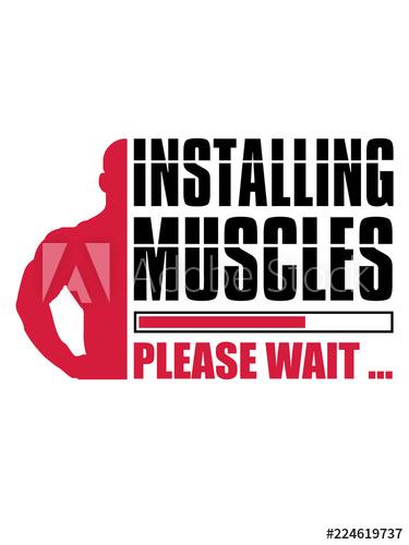 logo loading installing muscles please wait ladebalken.