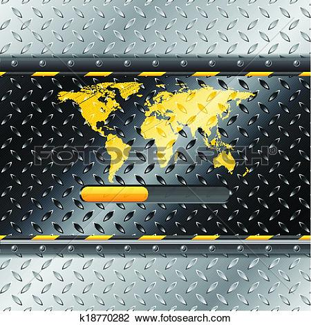 Clipart of Loading industrial interface with metallic plate and.