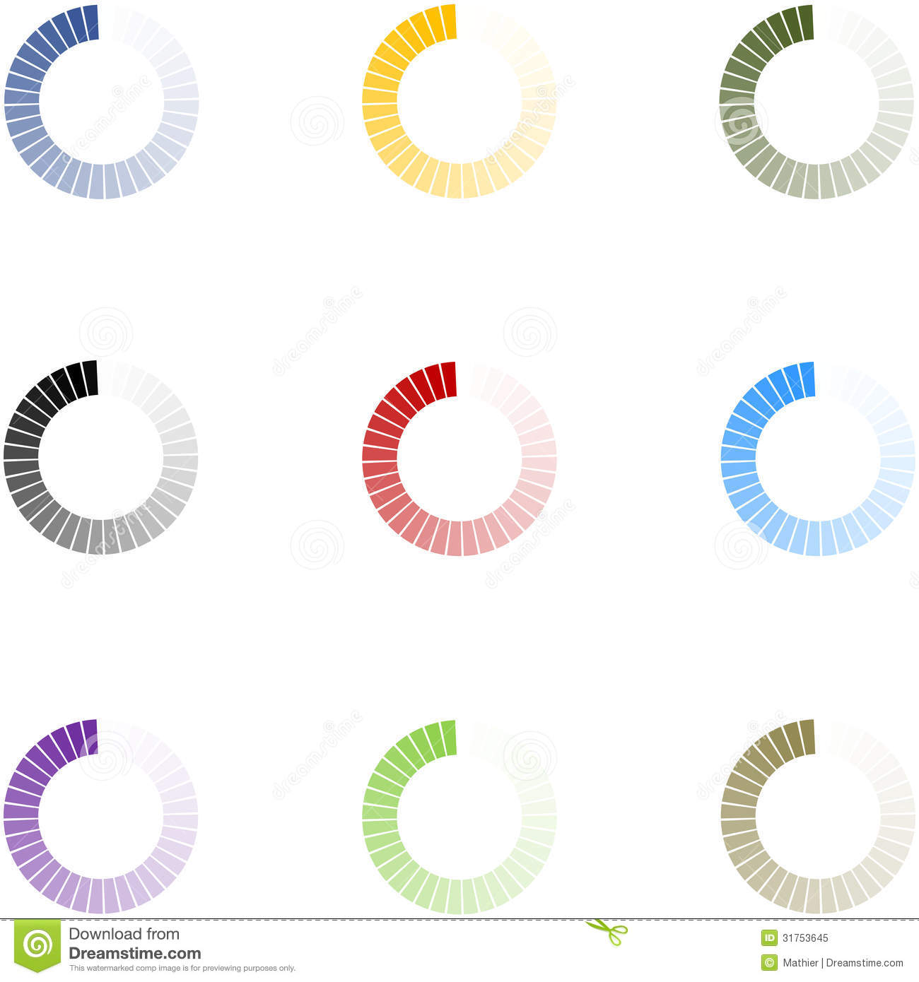 Loading Indicators Set 9 Colors.