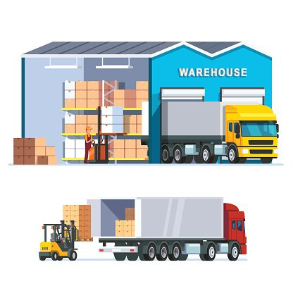 Logistics warehouse with loading truck Clipart Image.